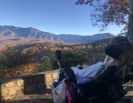 Tami Holloman enjoying what she loves dearly--the mountains.