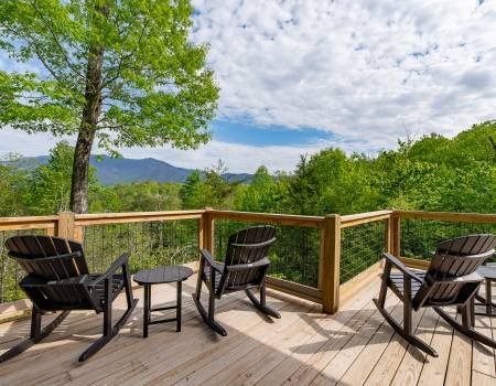 Deck With Chairs and a View of Mt LeConte