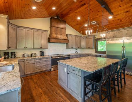Large Kitchen with Granite Counters and Cabinets