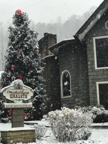 Snowy cabin rental office